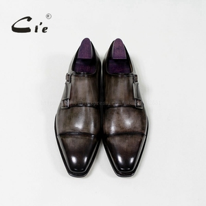 Image 3 - cie Square Captoe Double Monk Straps Patina Oliver Grey Handmade Mens Calf Leather Breathable Goodyear Welted Shoe Men MS 01 09