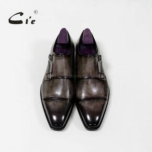 Image 3 - Квадратные двойные ремешки cie с закрытым носком, патина, Оливер серый, Мужская дышащая обувь ручной работы из телячьей кожи Goodyear, мужская обувь