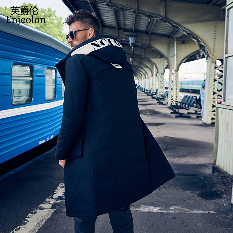 Enjeolon brand winter thick winter hoodies long   down   jacket men pocket long parka   coat   male warm parka   coat     down     coat   YR0142