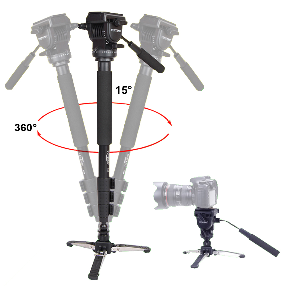 Yunteng 588 For Canon Nikon Sony Phones DSLR Camera DV Camcorder Photography Tripod Monopod Fluid Drag Head Update Of VCT-288 ulanzi vct 288 58in photography tripod monopod unipod with fluid pan head quick release plate for iphone canon nikon dslr camera