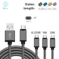 Cable de carga rápido tipo C de 3 pies y 6 pies para Xiaomi mi 9 mi8 SE Redmi Note 7 Pro Black Shark 2 Samsung S10 Plus S9 S8 Nova 4 USB C