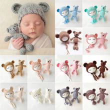 Lovely New Newborn Baby Girls Boys Photography Prop Ear Hats Caps Crochet Knitting Costume Bear Hat+Small Doll Toys(China)