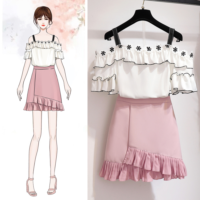 Sweet Chiffon Tops and Skirt Two Piece Set Summer Women Petel Embroidery Off Shoulder Strap Blouse Top+Pleated Mini Skirt Set
