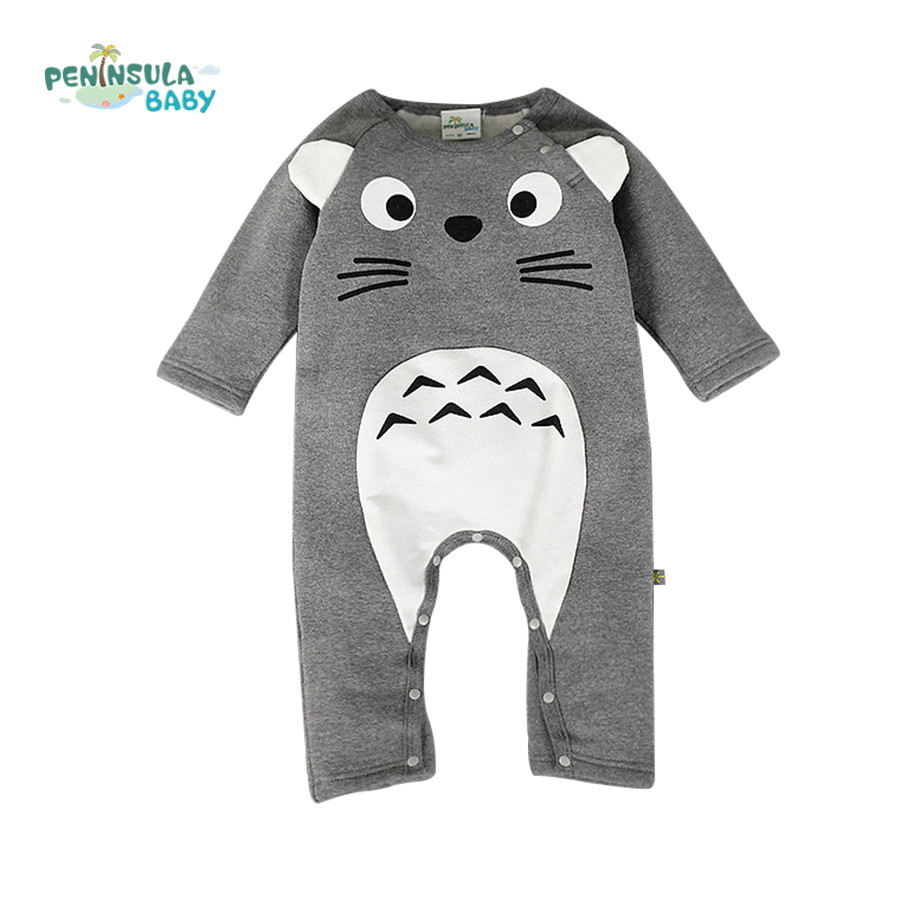 Brand Baby Clothes Newborn Baby Rompers Totoro Infant Fleece Long Sleeve Jumpsuits Boys Girl Autumn Winter Clothes Wear autumn winter baby rompers children clothing set newborn clothes bebes microfleece long sleeve girl clothing infant jumpsuits