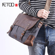 AETOO Men's Postman Bag canvas single shoulder bag casual oblique cross bag literary retro handbag цена