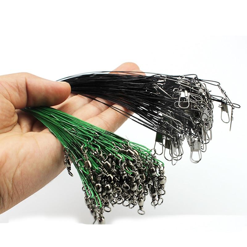 20pcs/lot Anti-bite Fishing Wire Line Leash Lure Fishhook Line 15cm/21cm/25cm Fishing  Leash With Swivel Snap Fishing A18