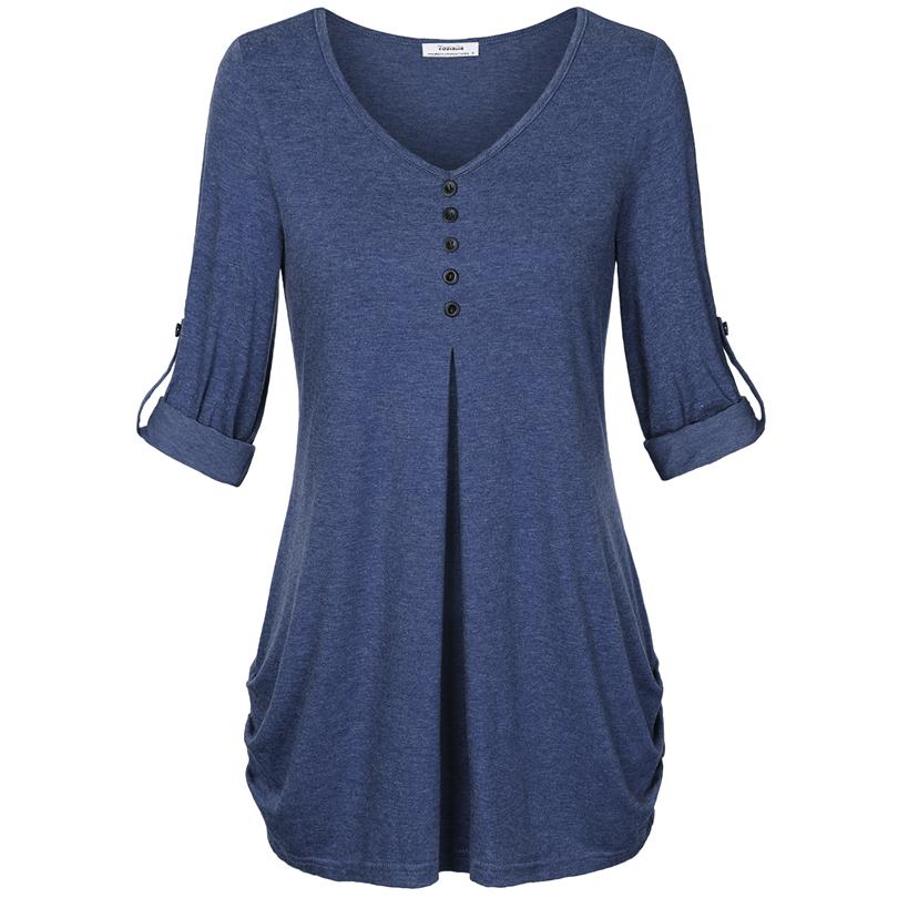 HTB12.6iPFXXXXbtXFXXq6xXFXXXt - New Women Summer T-shirt Button Long Sleeve Female