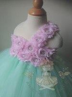 Flower Princess Girls Tutu Dress Aqua Flower Girls Baby Wedding Dresses Fancy Party Christmas Halloween Costumes Dress Ball Gown
