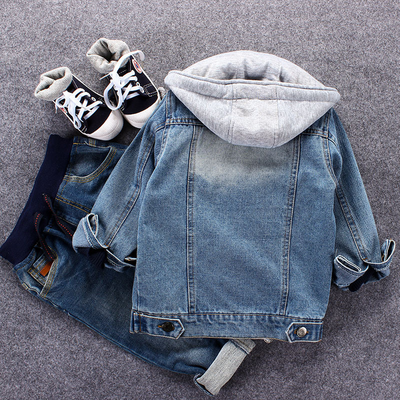 Infant Boys Coat 2019 Spring Autumn Baby Boys Jackets For Boys Jeans Jacket Kids Denim Hooded Outerwear Coat Children Clothes in Jackets Coats from Mother Kids