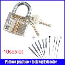 10 set/lot de la práctica por mayor candado cutaway lock & Broken Key Extractor Set herramienta del cerrajero