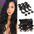 8A Lace Frontal Closure With Bundles Body Wave Indian Hair With Closure Bundles Wet And Wavy Human Hair With Frontal Closure