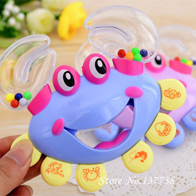 Interaktiva krabba Shape Rattles för babyer Handbell Developmental Baby Rattles Mobiler Toy Plast