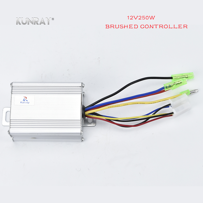 KUNRAY 12VDC 250W Brushed Controller For Electric Brush Motor Electric Scooter Controller Bicycle Ebike Parts Conversion Kit