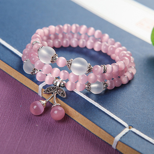 Factory Sale Opals Cats Eye Stone Handmade Beaded Bracelets Buddha Prayer Beads Jewelry with Necklace Pendant Pinky Color