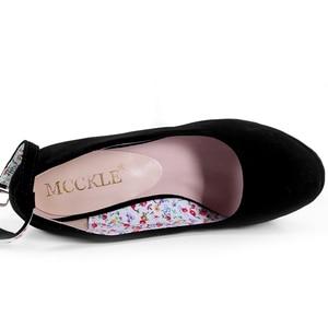 Image 4 - MCCKLE Women High Heels Shoes Plus Size Platform Wedges Female Pumps Womens Flock Buckle Bowtie Ankle Strap Woman Wedding Shoes