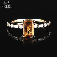 HELON Solid 14K Yellow Gold 7x5mm Emerald cut 1.23ct Natural Citrine Diamonds Ring Women Jewelry Unique Engagement Wedding Ring