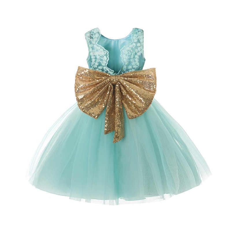cec649f8c Super Bow Backless verano tutú vestido Floral bebé bautizo trajes encaje  vestido de fiesta para 1 2 3 4 5 años la fiesta de cumpleaños de ropa
