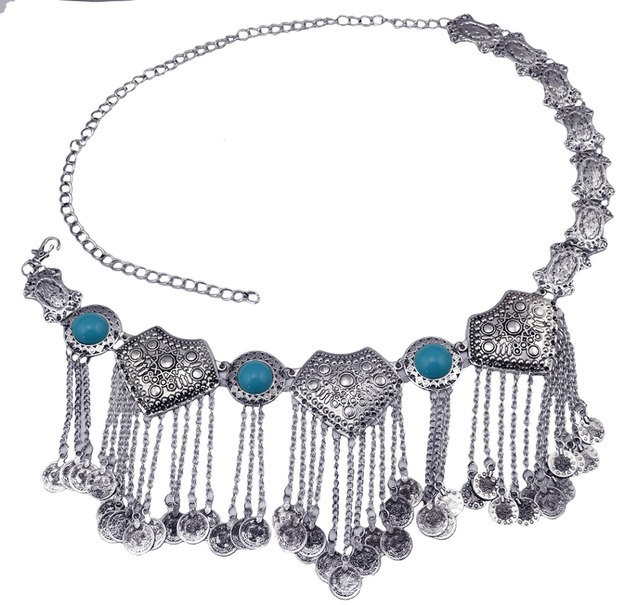 2 Colors Fashion Boho Gypsy Retro Silver Body Belts Waist Chain Inlay Bead Coin Tassel Pendant Women Jewelry