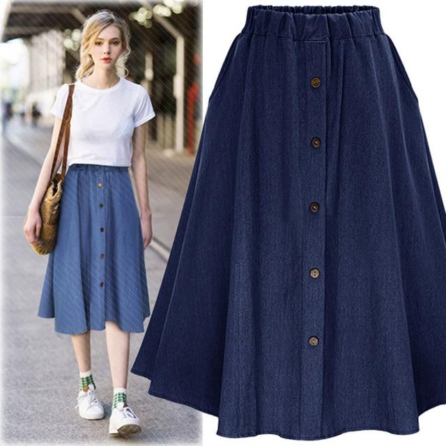 Ladies Casual Skirts 2017 Elastic Waist Elegent Half Skirts Denim Flare  Pleated Midi Skirt With Buttons Blue Summer New Arrival 78fe535c6ccf