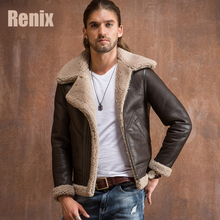 2017 Double-faced Fur Shearling Genuine Leather Fur Clothing Male Vintage Turn-Down Collar Thickening Fur Suit Winter Outerwear