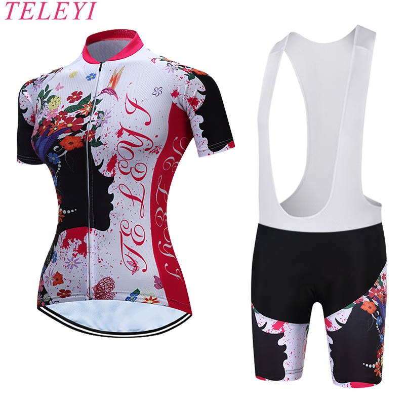 TELEYI Women Cycling Jersey Mountain Bike Kit Short Sleeve Shorts 3D Padded Pretty Girl women s cycling shorts cycling mountain bike cycling equipment female spring autumn breathable wicking silicone skirt