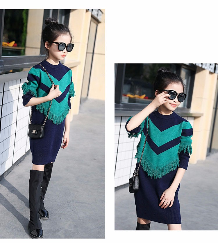 2017 new knitting tassels girls sweater spring autumn winter casual children school clothing preppy style knitted kids sweaters girls dresses 6 7 8 9 10 11 12 13 14 15 16 years old little teenage big girls long sweater dress (8)