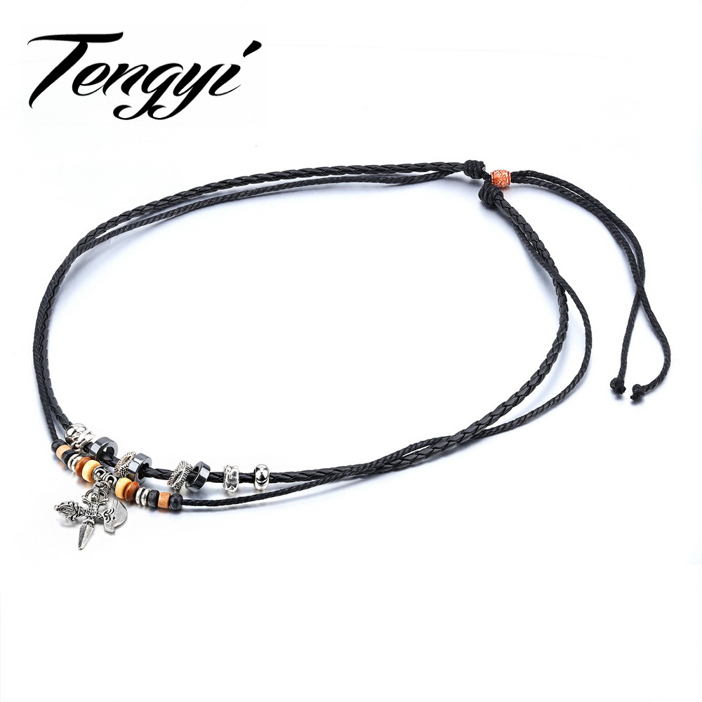 TENGYI Vintage Unisex Necklace 640mm Length Boho Pendant Axe Style Braided Rope & Stainless Steel Halloween Gift Jewelry TY019