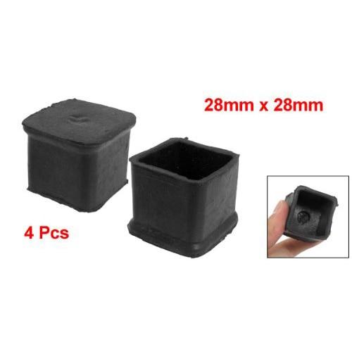 Wholesale 5* 4 Pcs Black Chair Table Leg Rubber Foot Covers Protectors 28mm x 28mm