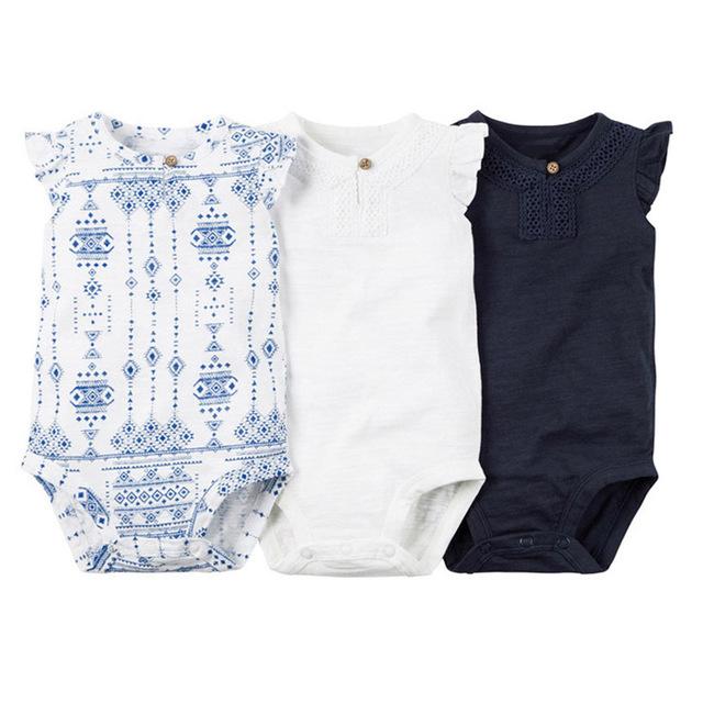 3 pcs bebê bodysuits meninas baby sling macacões sem mangas de algodão impressão sólida meninas clothing conjuntos de bebê menina bodysuits 2017
