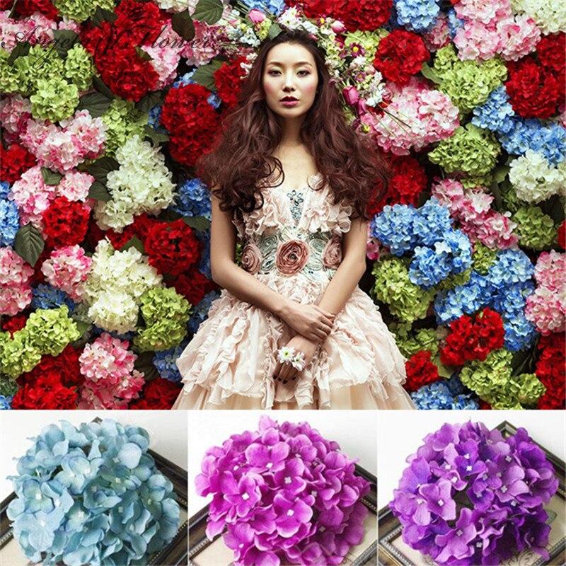 100 pcs 인공 꽃 머리 수국 꽃 머리 실크 인공 꽃 결혼식 장식 배경 벽 장식-에서인공 & 건조 꽃부터 홈 & 가든 의  그룹 1