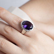 New Arrival Lady Silver 925 Sterling Rings For Women Accessories Fashion Crystal Purple Oval Female Jewelry
