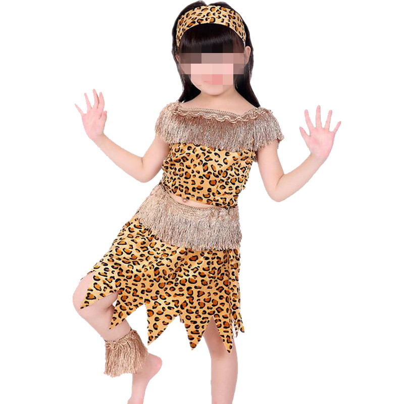 Children Adults Savage Leopard Costume Wild Man Women Adults Cosplay Costumes Halloween Stage Performance Party Dress