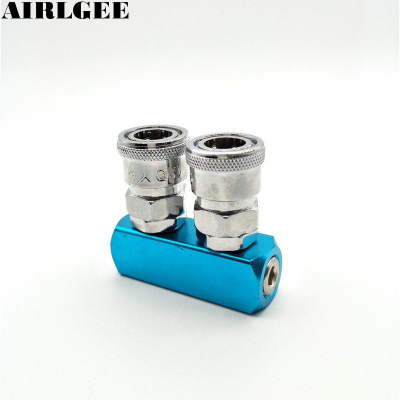 Silver Tone Blue 2 Pass Pneumatic Quick Connector Air Hose Fast Connect Metal Coupler Free shipping 10 mm id hose air compressor pneumatic quick coupler connector barb socket fittings set sh 30 ph 30