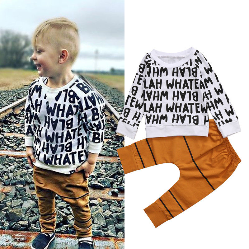 Baby boy clothes 2017 New Winter and Autumn Letters Printed long sleeve t-shirt Top + casual long pants 2pcs suit kids clothes baby boy clothes black t shirt pants suit pattern crown cotton top trousers long sleeve infantil clothing set casual outwear hot