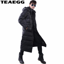 TEAEGG Long 90% White Duck Down Black Men Down Jacket Men Winter 2017 Thick Hood Winter Jacket Men Casual Warm Parka Coat AL113