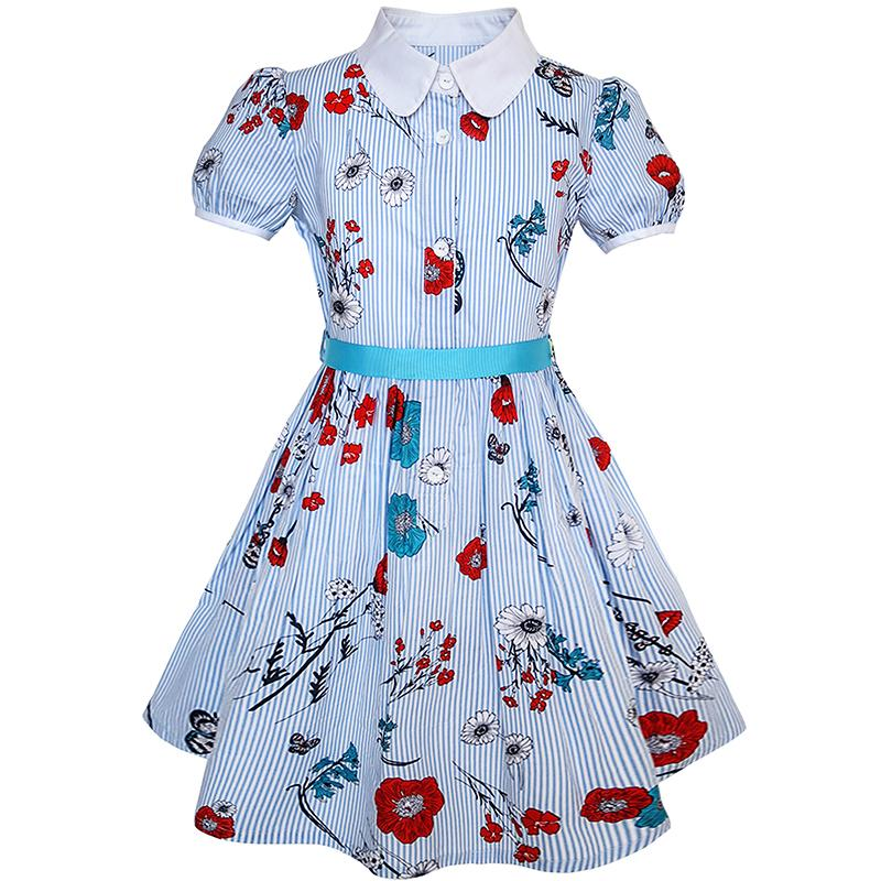 Sunny Fashion Flower Girl Dress School Uniform Blue Strip Floral Gingham Cotton 2018 Summer Princess Wedding Party Size 4-10 sexy princess dress uniform red yellow blue free size
