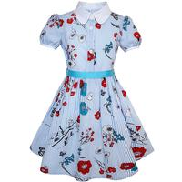 Sunny Fashion Flower Girl Dress School Uniform Blue Strip Floral Gingham Cotton 2017 Summer Princess Wedding