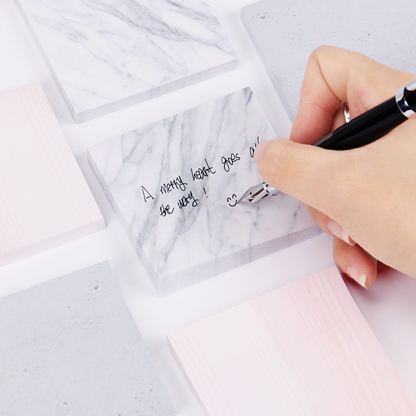 1PC Marble Texture Self Adhesive Memo Pad Sticky Notes Sticker Label School Office Supply Escolar Papelaria 1000 label self adhesive sticky a4 sheets address labels inkjet laser copier printer ebay amazon sticky address post pack paper