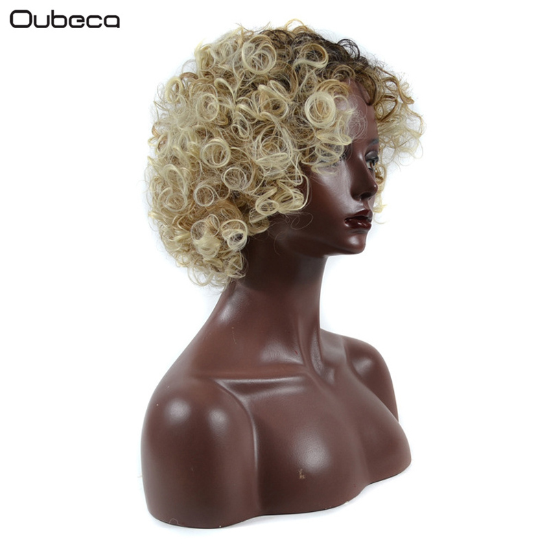 OUBECA Blonde Ombre Short Afro Kinky Curly Wig 27T613 African Heat Resistance Synthetic  ...