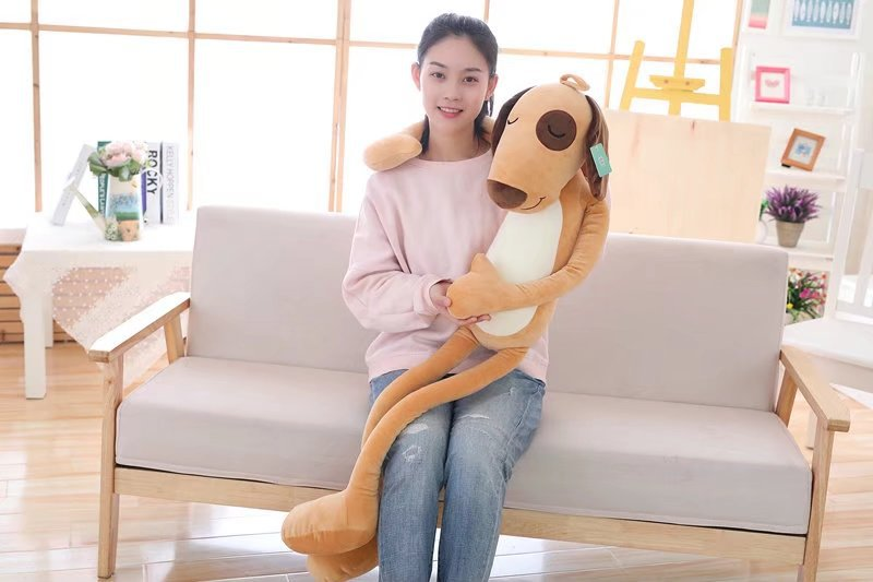 big plush lovely yellow dog toy stuffed long dog pillow doll gift about 80cm banana shaped plush doll toy with sound effect for pet yellow