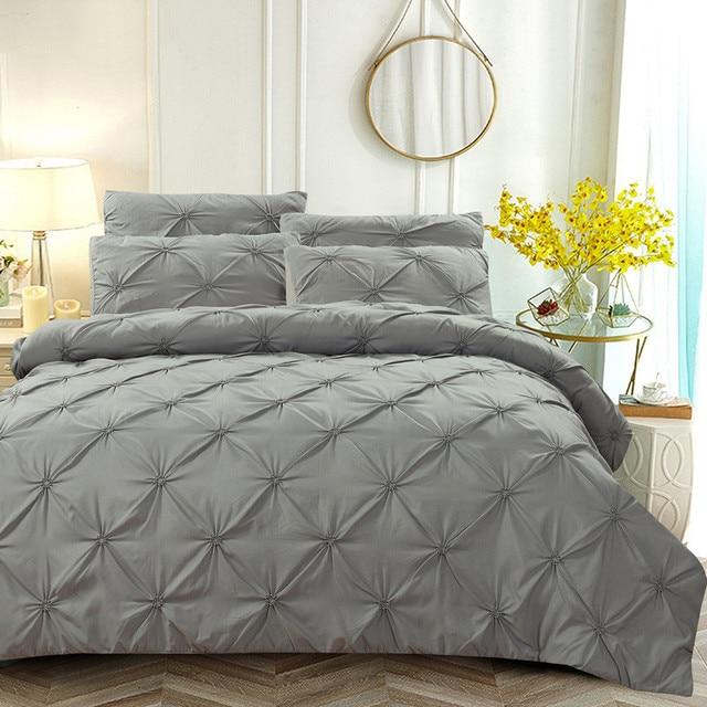2 3pcs Luxury Duvet Cover Set Pinch Pleat White Black Grey Red Blue