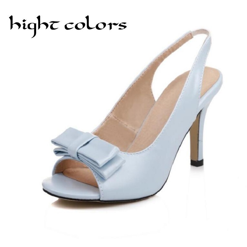 Women Sandals Womens Sexy Peep Toe High Heel Sandals Slingbacks Pumps Sweet Bow White Shoes Summer Sandals Shoe Big Size 33-43 2018 summer new fashion women sandals comfort wedges heel5cm shallow peep toe ol working shoes big size 35 41 bow knot lady shoe