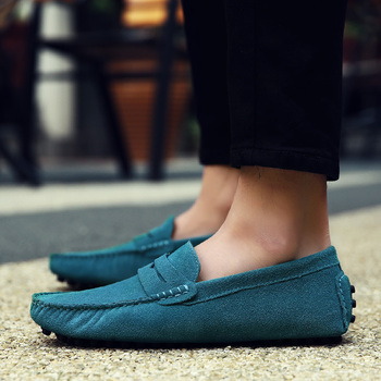 GOXPACER Spring Autumn Loafers Boat Shoes Men Genuine Leather Casual Shoes Fashion Suede Men Leisure Shoes Driving Free Shipping 1