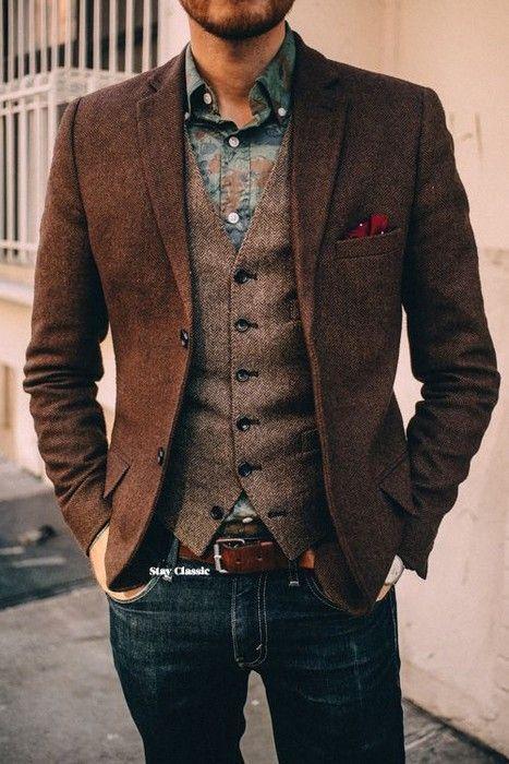 2019 Custom Made Groom Wear Dark Brown Vintage Herringbone Tweed Vest for Rustic Wedding Plus Size