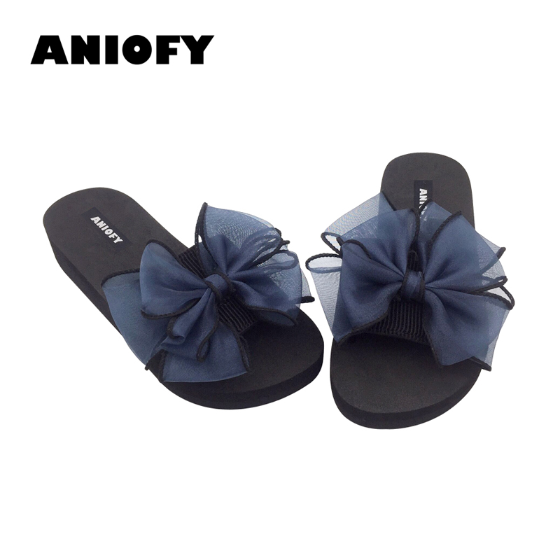 Aniofy Women Cute Shoe Female EVA Outdoor Bowknot Slipper Platform Slope Beach Sandals for Girl Causal Comfortable Flat Slipper