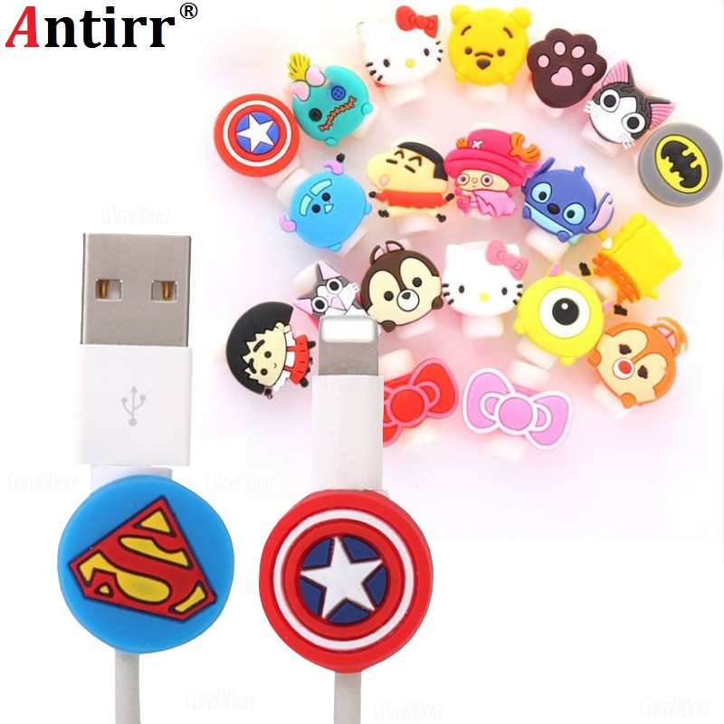 Cute Cartoon USB Charger Cable Winder Protective Case Earphone Cord Sleeve Wire Cover Data line Protector For iphone 7 8 plus baseus little devil case for iphone 7 plus black