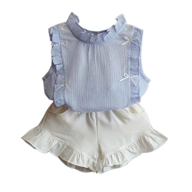 2018 New Summer Girls Clothes 2 3 4 5 6 7 8 Year Children Clothing Set Fashion Shirts + White Shorts 2pcs Kids Suits