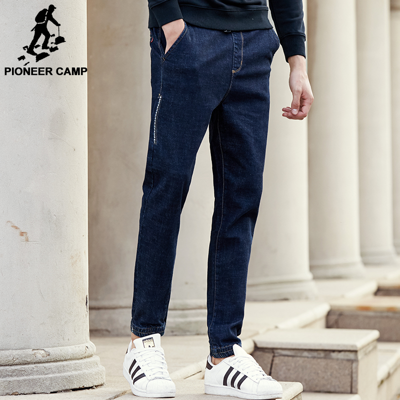 Pioneer Camp New arrival brand men jeans top quality male deep blue denim pants fashion casual men thick denim trousers  611046 17 shark summer new italy classic blue denim pants men slim fit brand trousers male high quality cotton fashion jeans homme 3366