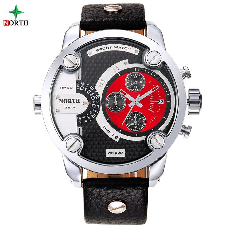 North sport suit watches men waterproof leather band quartz wrist wristwatch military...