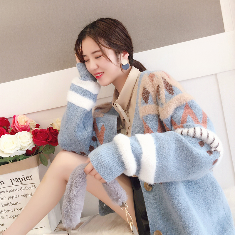 2018 spring winter women loose sweater female all match thicken cardigan outwear jackets tops